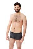 Uomo senza camicia sorridente Fotografia Stock Libera da Diritti