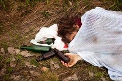 Uomo senza casa ubriaco Fotografia Stock Libera da Diritti
