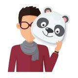 Uomo senza fronte in vetri con Panda Mask Fotografia Stock