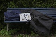 Uomo senza tetto sul banco di parco Immagini Stock