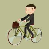 Uomo in serie e con la cartella che guida una bicicletta Illustrazione di vettore Fotografia Stock Libera da Diritti