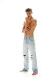 Uomo sessuale in jeans fotografia stock