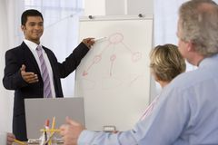 Uomo sicuro di affari che dà presentazione. immagine stock libera da diritti