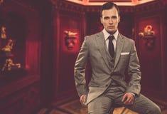 Uomo d'affari in vestito grigio Fotografie Stock