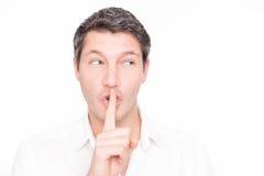 Uomo silenzioso di bisbiglio Immagine Stock