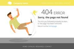 Uomo slittato su una banana Errore non trovato 404 della pagina Fotografie Stock Libere da Diritti
