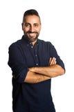 Uomo soddisfatto in camicia blu Fotografia Stock Libera da Diritti