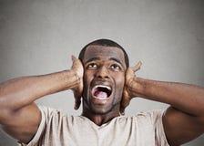 Uomo sollecitato che schiaccia il suo capo, rincoglionendo, gridando fotografia stock