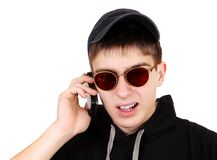 Uomo sollecitato con un telefono Fotografia Stock