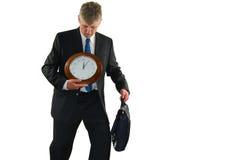 Uomo sollecitato di affari che cerca più tempo Fotografia Stock Libera da Diritti