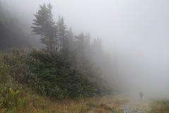 Uomo solo che cammina sul percorso della roccia immerso in foschia e nebbia in Fotografia Stock