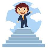 Uomo sopra una scala Immagini Stock