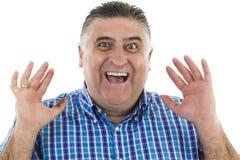 Uomo sorpreso che gesturing ritratto Fotografia Stock