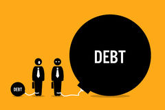 Uomo sorpreso dall'altro debito enorme della gente illustrazione vettoriale