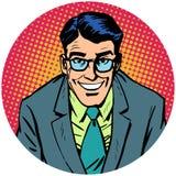 Uomo sorridente con il imag rotondo del carattere di simbolo dell'icona dell'avatar di vetro Immagini Stock Libere da Diritti