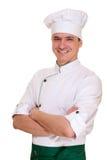 Uomo sorridente del cuoco unico in uniforme Immagini Stock Libere da Diritti