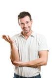 Uomo sorridente soddisfatto Fotografia Stock