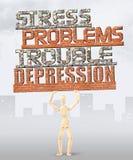 Uomo sotto pressione di molti difficoltà e problemi Immagine Stock