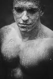 Uomo sporco del fronte del fango Fotografia Stock Libera da Diritti