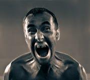 Uomo sporco di grido Fotografia Stock Libera da Diritti