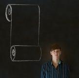 Uomo, studente o insegnante con la lista di controllo del rotolo del menu che esamina diritto voi Immagine Stock Libera da Diritti