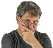 Uomo stupito isolato su bianco Fotografia Stock