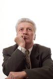 Uomo in su isolato su bianco Fotografie Stock