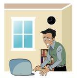 Uomo su un computer Fotografie Stock Libere da Diritti