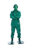 Uomo su un costume verde del soldatino Immagine Stock