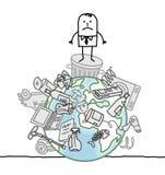 Uomo su un mondo inquinante Immagini Stock