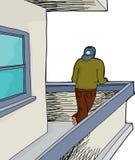 Uomo sul balcone sopra bianco Fotografie Stock