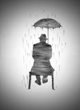 Uomo sul banco con un ombrello Fotografie Stock Libere da Diritti