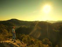 Uomo sul picco della roccia dell'arenaria in parco nazionale Immagini Stock
