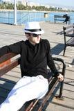 Uomo sul pilastro Fotografia Stock Libera da Diritti