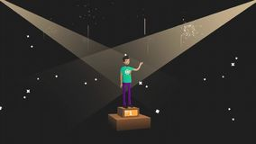 Uomo sul primo piedistallo del posto che ondeggia la sua mano e che sta davanti ai fuochi d'artificio festivi su fondo nero fumet illustrazione di stock