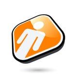 Uomo sul tasto arancione Fotografia Stock Libera da Diritti