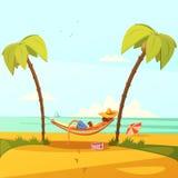Uomo sull'illustrazione della spiaggia royalty illustrazione gratis