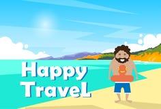 Uomo sull'insegna felice di viaggio di viaggio di festa di vacanza della spiaggia royalty illustrazione gratis