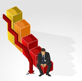 Uomo sull'istogramma di crisi finanziaria Fotografia Stock Libera da Diritti
