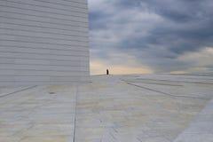 Uomo sull'orizzonte contro lo sfondo delle nuvole di tempesta Immagine Stock Libera da Diritti