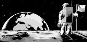 Uomo sulla luna Fotografia Stock