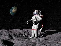 Uomo sulla luna - 3D rendono Fotografie Stock