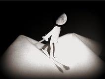Uomo sulla luna, sogno di neve Immagine Stock