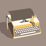 Uomo sulla macchina da scrivere d'annata Illustrazione di vettore Fondo Fotografia Stock