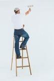 Uomo sulla pittura della scala con il rullo fotografia stock libera da diritti