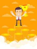 Uomo sulla scala enorme dei soldi illustrazione vettoriale