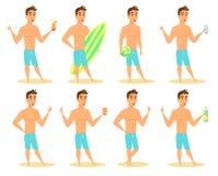 Uomo sulla spiaggia seduta Fotografia Stock