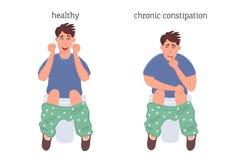 Uomo sulla toilette, sul concetto di patologia di costipazione e sugli emorroidi prima e dopo la malattia Grafica vettoriale del  royalty illustrazione gratis