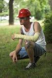 Uomo tatuaato in intonaco Fotografia Stock Libera da Diritti