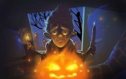 Uomo terrificante di Halloween con l'illustrazione della zucca Fotografia Stock